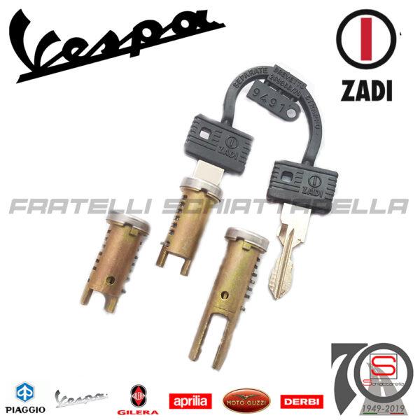 6215 Kit Serie 3 Serrature Chiavi Piaggio Vespa Fl Sella Lunga Eq 265828