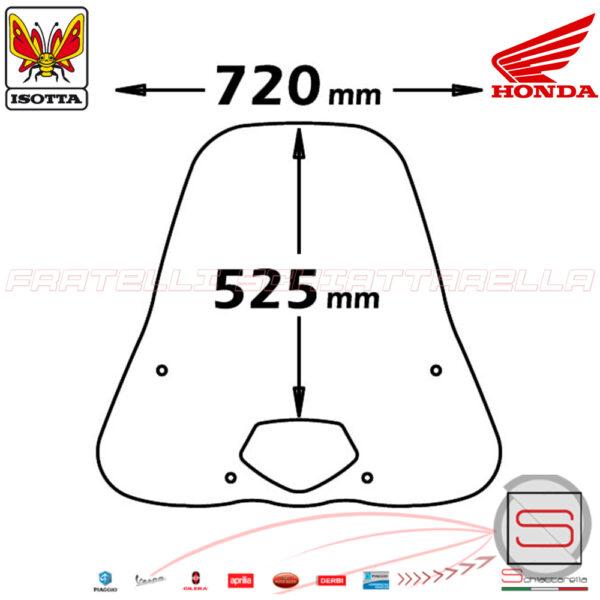 e118 Parabrezza Paravento Con Attacchi Isotta Honda SH 125 150 2005-2008