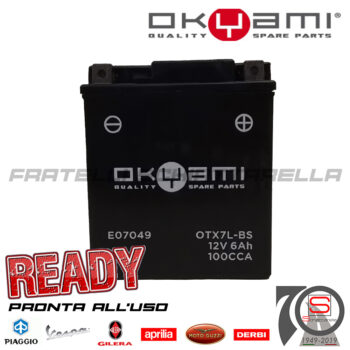 Batteria Accumulatore Moto Scooter Okyami YTX7L-BS E07049 E0820613 584662 Acido Corredo E01157