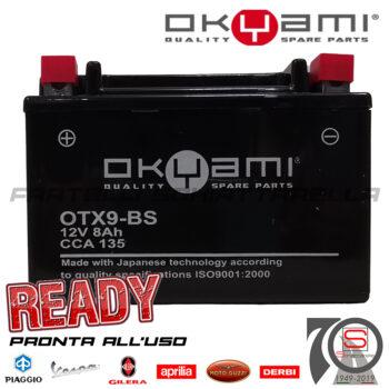 Batteria Accumulatore Moto Scooter Okyami YTX9-BS E07053 E0820812 498239 497410 294748 445303 Acido Corredo