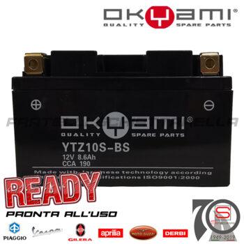 Batteria Accumulatore Moto Scooter Okyami YTZ10S-BS E07055 E0840811 Acido Corredo