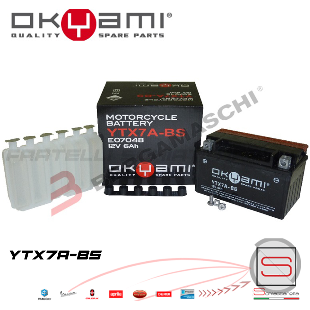 Batteria Accumulatore Moto Scooter Okyami YTX7A-BS
