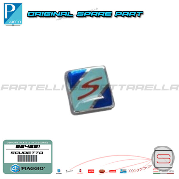 Scudetto Logo Cresta Parafango Cromata Originale Piaggio Vespa GTS Super 650263 650775 654821
