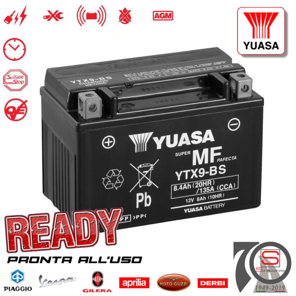 Batteria Accumulatore Moto Scooter Originale YUASA YTX9-BS E01158 E07053 E0820812 498239 497410 294748 445303 Acido Corredo