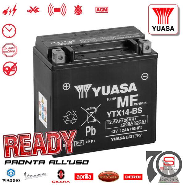 Batteria Accumulatore Moto Scooter Yuasa YTX14-BS E0821214 E07062 638733 E01141 Yuasa