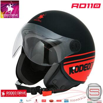 RD110 Nero Arancio Casco Jet Rodeo Drive