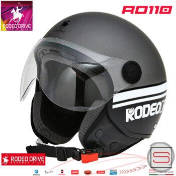 RD110 Titanio Bianco Nero casco Jet Rodeo Drive
