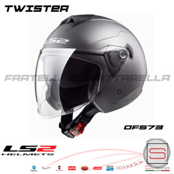 Casco Demi Jet LS2 twister OF573 matt titanium