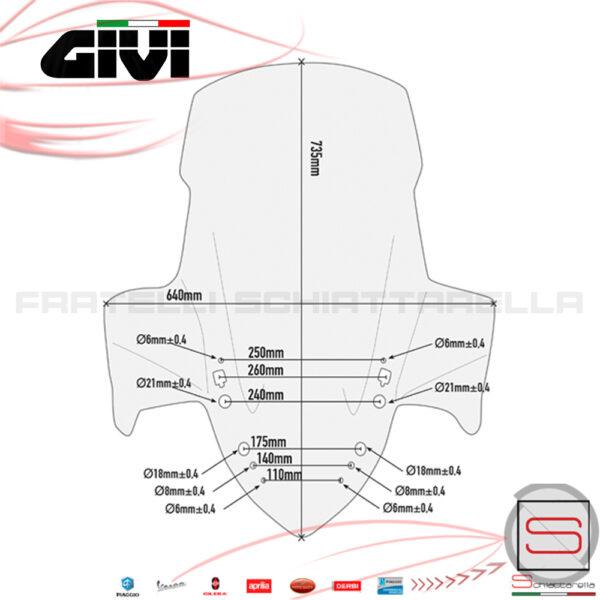 Parabrezza Paravento Givi Yamaha X-Max X Max 2017 D2136ST KIT Spoiler Cupolino Protezione Windscreen Vetro Schermo Lastra
