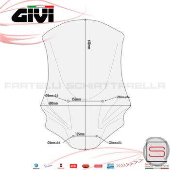 Parabrezza Paravento Spoiler Givi Honda X-ADV 750 2017 D1156ST Cupolino Protezione Windscreen Vetro Schermo Lastra XADV