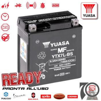 Batteria Accumulatore Moto Scooter Originale YUASA YTX7L-BS E07049 E0820613 584662 86119R 00503302401 AP8124604 Con Acido A Corredo GTX7L-BS E01157