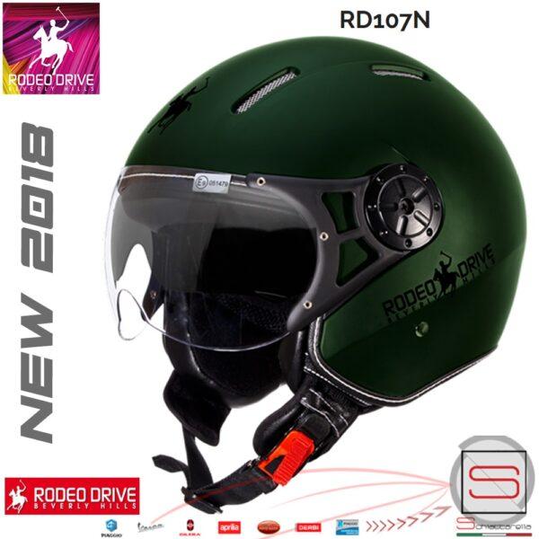 Casco Rodeo Drive Demi Jet RD107N Verde Opaco Militare