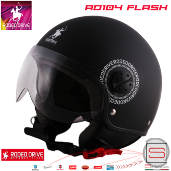 Casco Rodeo Drive Demi Jet RD104 Flash Nero Opaco