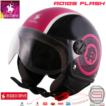 Casco Rodeo Drive Demi Jet RD105 Flash Nero Grigio Fuxia