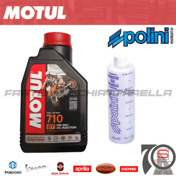 Kit Olio Lubrificante Miscela Motul 710 2T Sintetico 100% + Misurino Mix Polini 3374650246772 104035 104036 104037 104034 121.500 121500