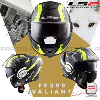 Casco Helmet Modulare Apribile LS2 FF399 Valiant Matt Black Yellow 50399 13 54 Line