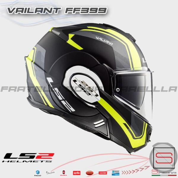 Casco Helmet Modulare Apribile LS2 FF399 Valiant Matt Black Yellow 50399 13 54 Line