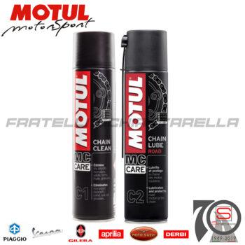 Kit Pulizia e Lubrificazione Catena Moto Motul Chain Clean + Chain Lube Road 102980 3374650238982 104696 105625 107931 102981
