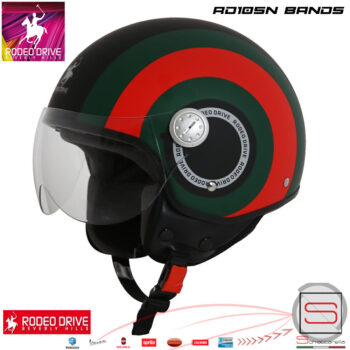 RD105N Bands Nero Casco Rodeo Drive Demi Jet