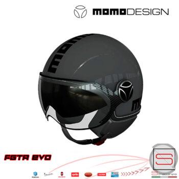 Casco Demi Jet Momo Design Fighter FGTR EVO Asfalto Scritta Nera Visiera Occhiale 10010030416