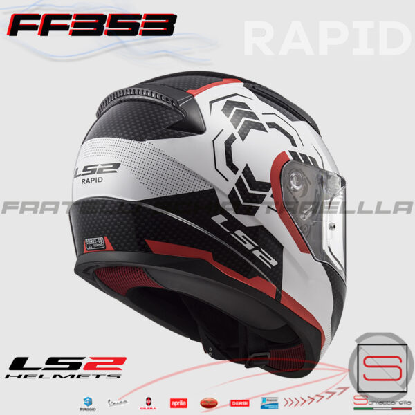 Casco Integrale LS2 FF353 Rapid Ghost White Black Red 103532732 10353-27-32 bianco rosso nero