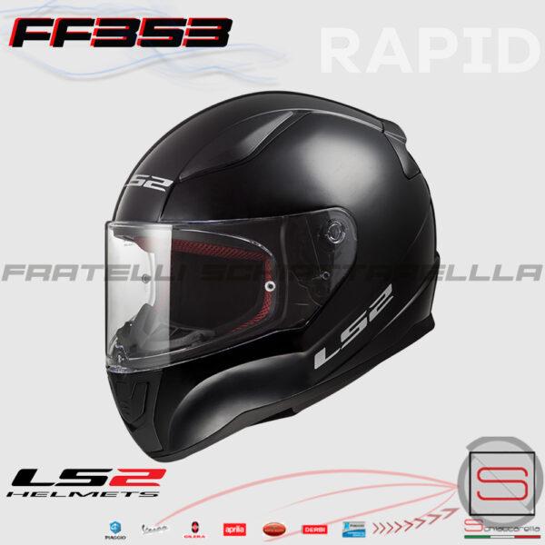 Casco Integrale LS2 FF353 Rapid Solid Matt Black Road Touring 103531011 10353 10 11 nero opaco moto