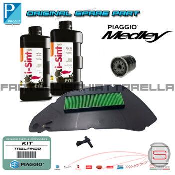 Kit Tagliando Filtro Olio Aria Originale Piaggio Medley 125-150 100891 82635R 1A007267 Lubrificante Specifica VW506.01 0W30