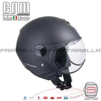 Casco Jet Moto CGM Florence Visiera Sagomata Nero Gommato Opaco 107A-FSA-01 107AFSA01