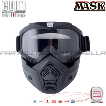 Maschera Occhiali Mentoniera CGM Mask Lente Trasparente Casco Moto Scooter Iron Man Cross Enduro Off Road Nero nera 740M Motocross Offroad Mascherina gommato