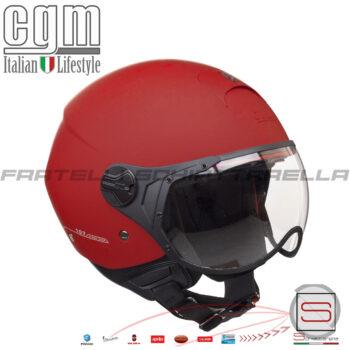 Casco Jet Moto CGM Florence Visiera Sagomata Occhiale Rosso Opaco 107A-FSA-03 107AFSA03