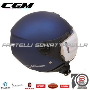Casco Demi Jet Moto CGM Florence Visiera Sagomata Occhiale Blu Gommato Opaco 107A-FSA-06 107AFSA06 3