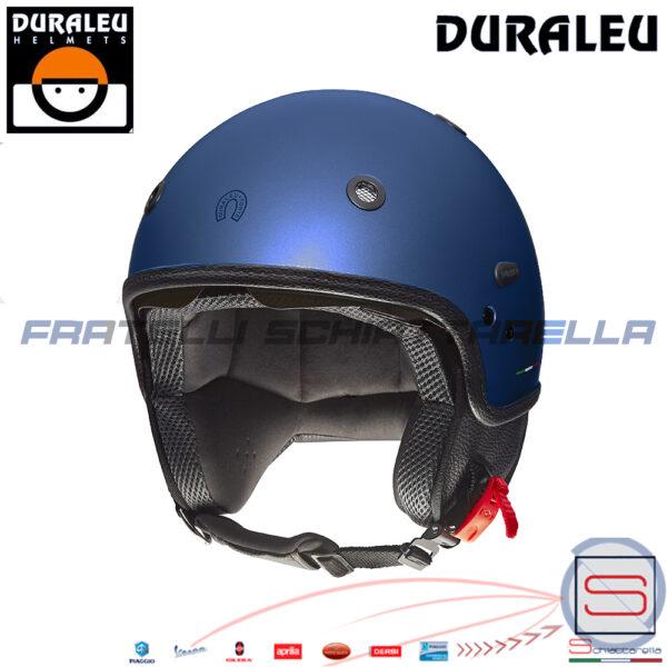 Casco Demi Jet Moto Scooter Duraleu Nudo blu metal Opaco CMDNBO4