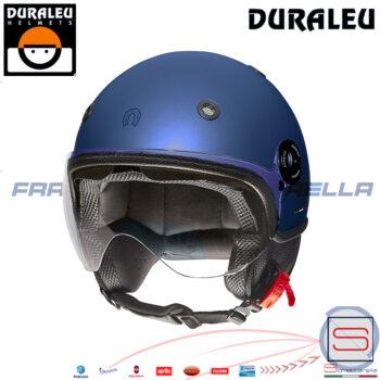 Casco Demi Jet Moto Scooter Duraleu Nudo blu metal Opaco CMDNBO4 visiera buona