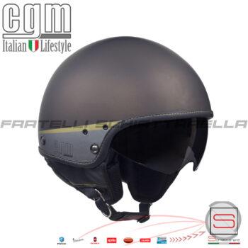 Casco Demi Jet Moto Visierino Parasole CGM Granada Marrone Opaco 105G-DAV-13 105GDAV13 Cafè Racer Custom Harley-Davidson