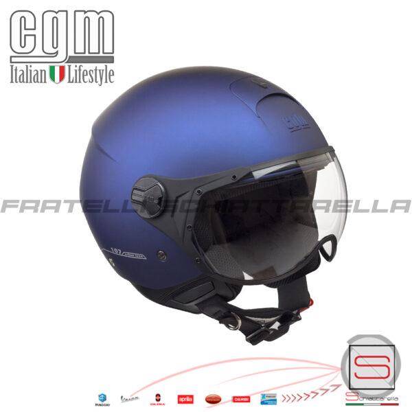 Casco Jet Moto CGM Florence Visiera Sagomata Blu Gommato Opaco 107A-FSA-06 107AFSA06