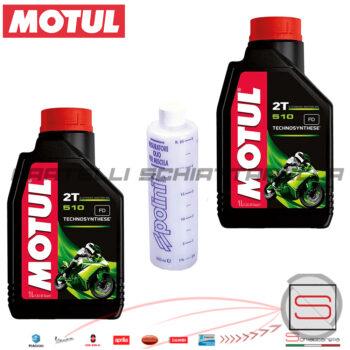 Kit 2 Litri Olio Lubrificante Miscela Motul 510 2T + Misurino Polini 1 a 7