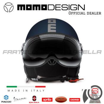 Casco Demi Jet Momo Design Fighter FGTR EVO Blu Opaco Scritta Argento 1001003038