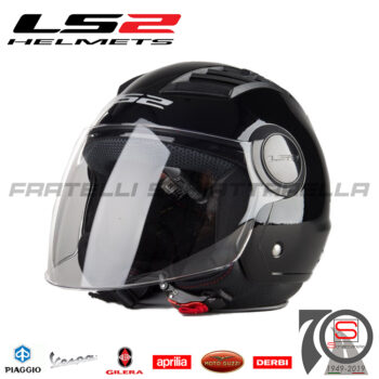 Casco Demi Jet LS2 OF562 Airflow Black Nero Lucido Interno Estraibile Visiera Lunga 305625012 OF 562