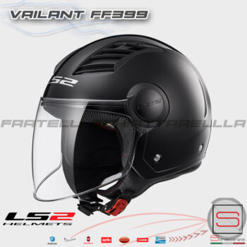 Casco Demi Jet LS2 OF562 Airflow Matt Black Nero Opaco Interno Estraibile Visiera Lunga 305625011 OF 562