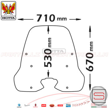 cls3036 Parabrezza Paravento Isotta 6 Fori Kymco People S 125-150I Dal 2018