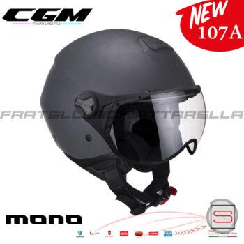 Casco Demi Jet Moto CGM 107A Florence Mono Visiera Sagomata Antracite Satinato 107AGSA10