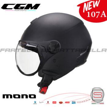 Casco Demi Jet Moto CGM 107A Florence Mono con Visiera Sagomata Occhiale Nero Opaco 107AGSA01