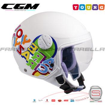 Casco Jet Moto Baby Bimbo Bambino Bimba CGM 205G Young Sport Bianco Metal con Visiera Sagomata 205GGSA14