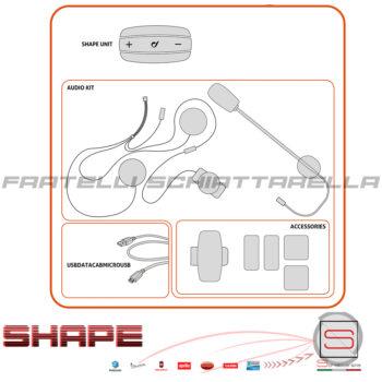 Coppia Cellularline Interphone Shape Bluetooth Interfoni Casco Moto Telefono GPS Twin Pack
