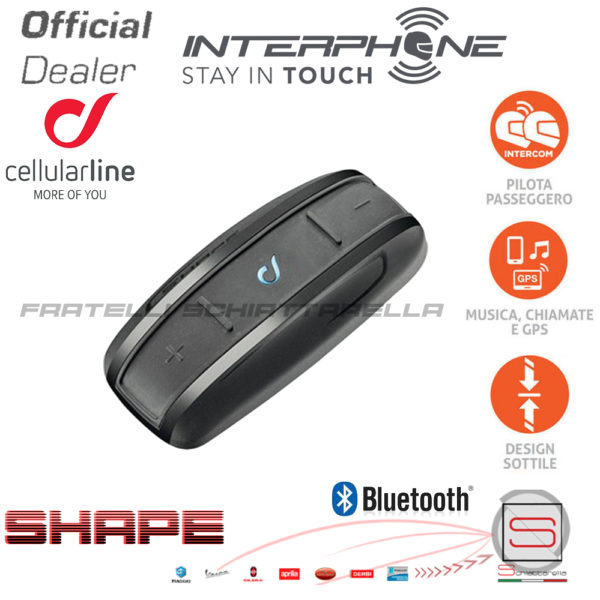 INTERPHONE SHAPE INTERFONO BLUETOOTH SINGOLO - UNIVERSALE CASCO MOTO SCOOTER