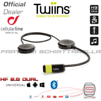Interfono Auricolare Moto Casco Bluetooth Twiins HF2.0 Dual Due Altoparlanti