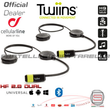 Interfono Auricolari Bluetooth Smart Duo Twiins HF3+HF2 Casco Pilota Passeggero