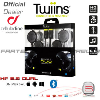 Interfono Auricolari Bluetooth Smart Duo Twiins HF3+HF2 Casco Pilota Passeggero