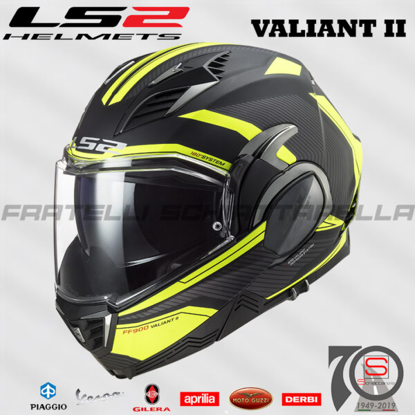 Casco Helmet Modulare Apribile LS2 FF900 Valiant II Revo Giallo Nero Opaco honda Bmw Motorrad touring road enduro 509002254 black matt black yellow