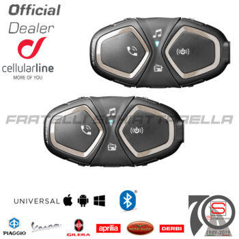 Cellularline Interphone Connect Pack Singolo Bluetooth Interfono Casco Moto interphoconnectttp, 8018080342820